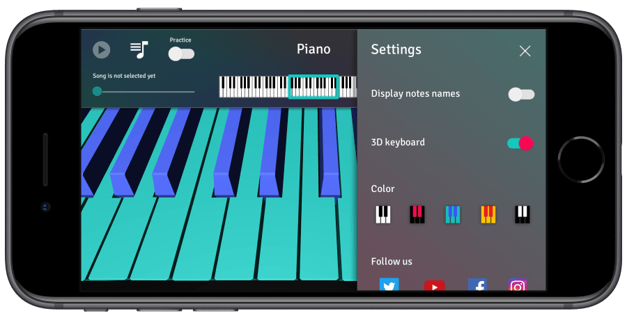 piano 3d settings menu