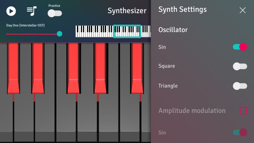 synthesizer settings in piano 3d